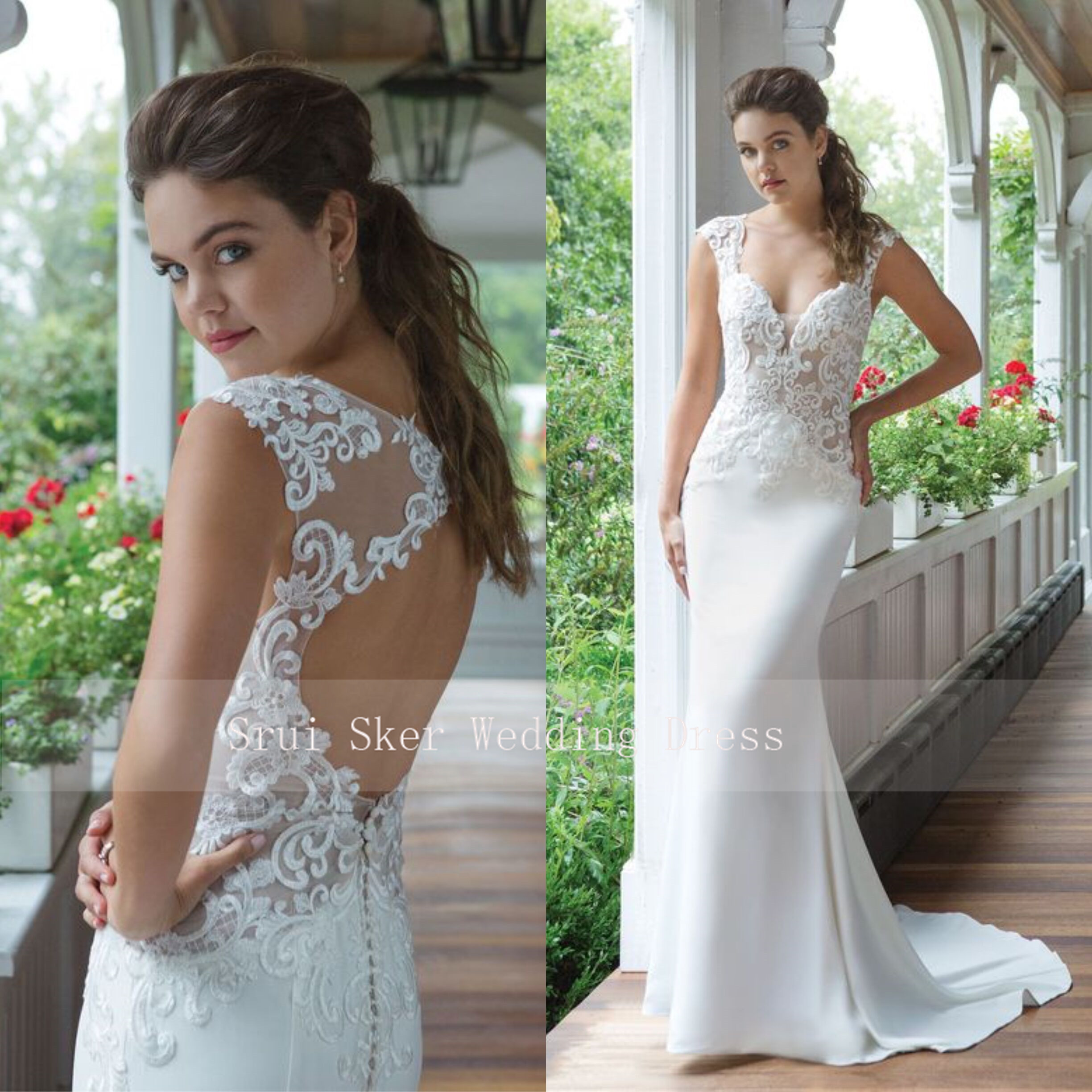 New Elegant White Wedding Dresses Sheath Fit And Flare Crepe Gown With Illusion Lace Bodice Vestidos De Novia Vintage