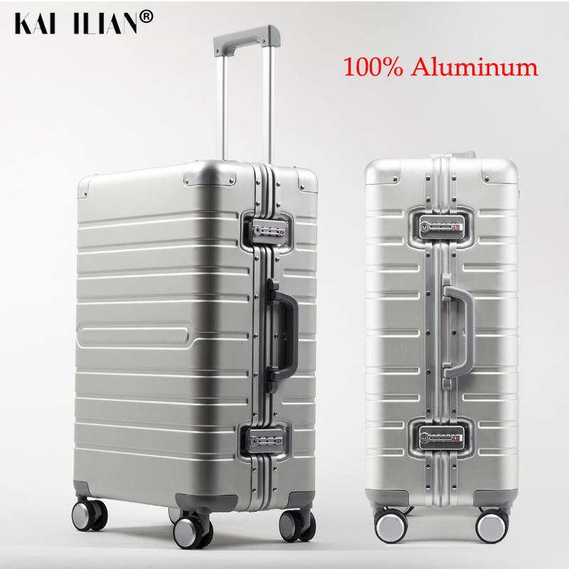 100% Cheap Aluminum Travel Suitcase On Wheel Carry On Business Trolley Case Men's Rolling Luggage Women Cabin Suitcase Big Bag