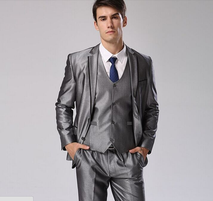 Jacket Pants Vest Tie) Men Fashion Business Dress Suit European ...