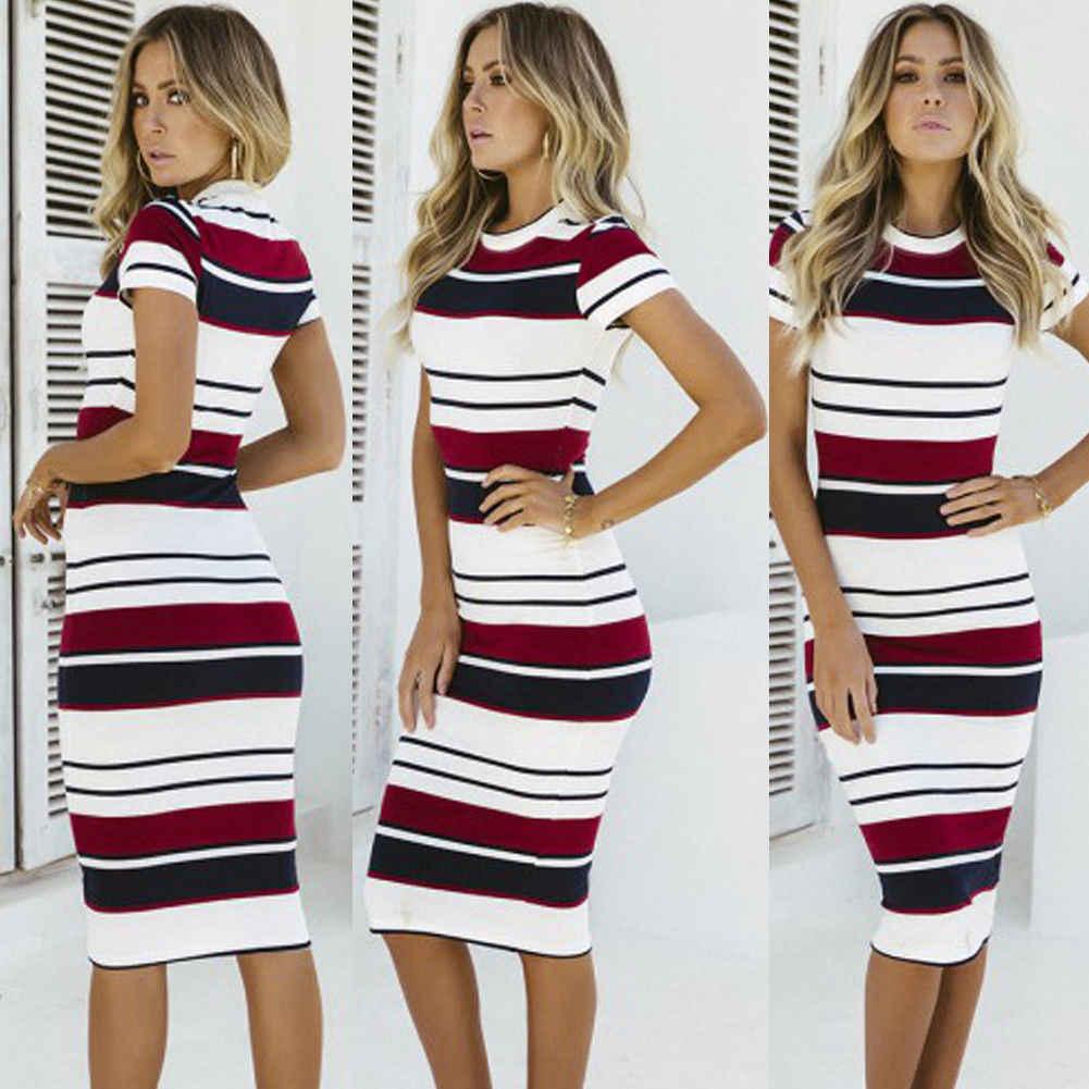 635d36dc167b ... Fashion Women's Strappy Bodycon Skinny Sheath Slim Striped Short Sleeve  Holiday Summer Ladies Midi Dress Size ...