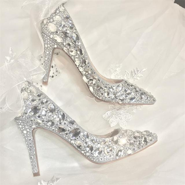 68b798cccaa Bride Wedding Dress Pumps with Lace luxury shoes rhinestone Woman High Heels  7 9CM Pointed Toe Stiletto Silver Bridesmaid 34-39