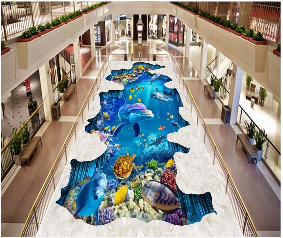 3d floor painting wallpaper Sea World dolphin shark 3D three-dimensional painting outdoors 3d flooring beibehang 3d floor decoration painting 3d ocean world floor sea water ripple 3d floor painting pvc anti skid durable floor