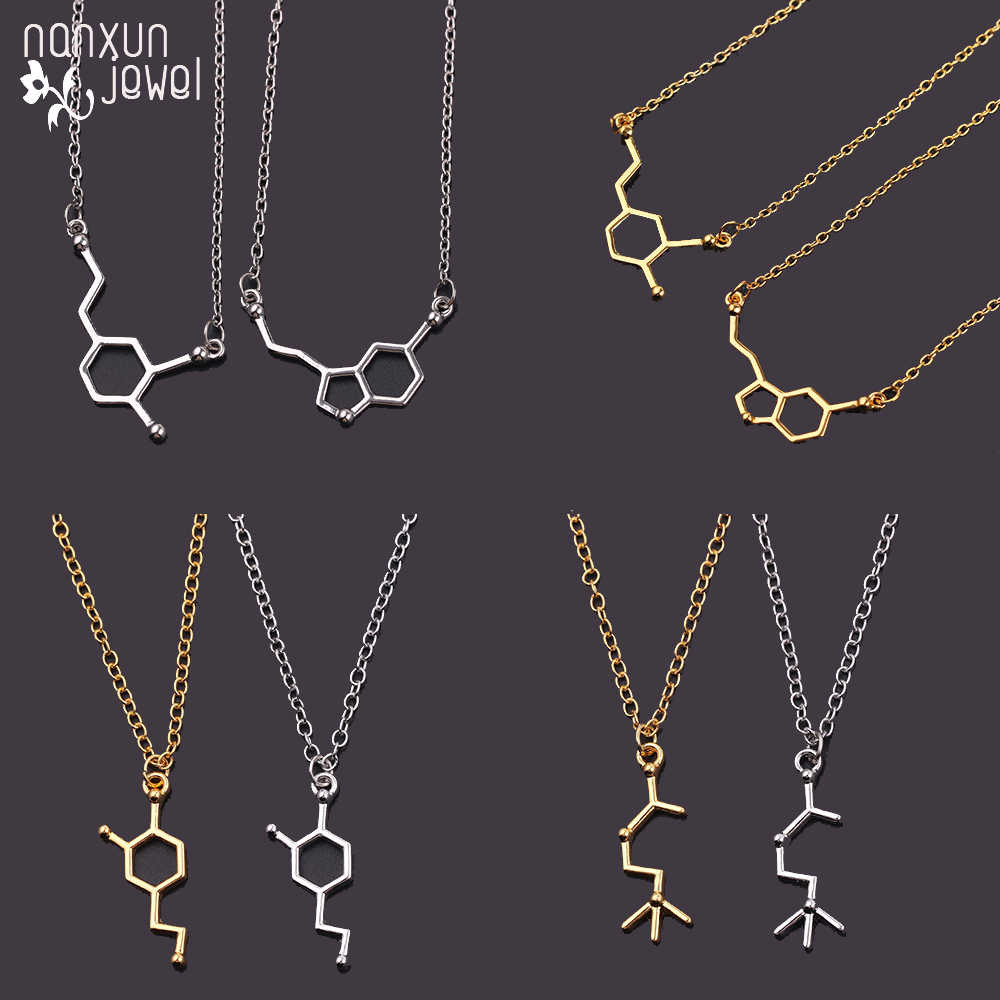 Serotonin Molecule Chemistry Geometric Polygon Pendant Necklace Dopamine Jewelry Girl Women's Gift Geometric Statement Necklace