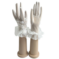 White Ivory Female Bridal Gloves Short Wrist Length For Wedding Bride Cheap Accessories ST18 Vestido De Festa