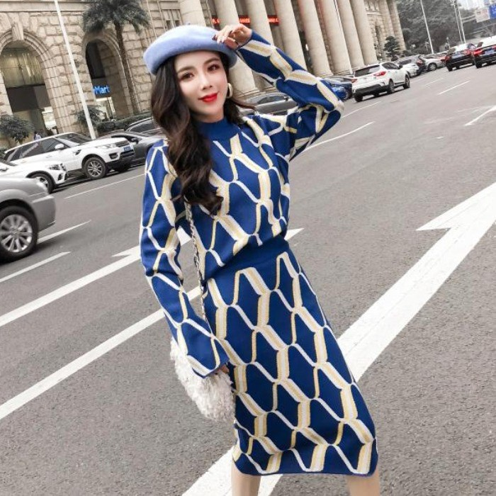 HAMALIEL Autumn Winter Women Geometric Pattern Knitted Sweater Suits 2 Piece Set + Elastic Waist Knee Bodycon Pencil Skirts Set