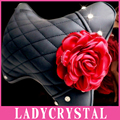 Ladycrystal Bling Diamond Car Neck Pillow High Quality PU Leather Flower Headrest Pillow Auto Seat Cover Head Neck Rest Cushion