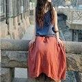 Summer dress dress vendimia de las mujeres de algodón y lino ocasional vestidos o cuello plisado sin mangas de dress plus tamaño ropa de mujer