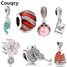Couqcy Hot Sale Bead Charm With Authentic Flowers Love Hearts Silver Fit Pandora Original Charms Bracelet Women Glass Jewelry