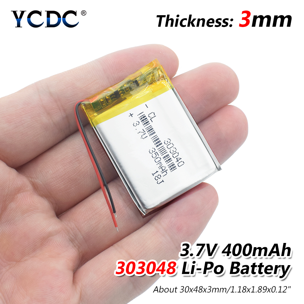 1/2/4x <font><b>3.7V</b></font> <font><b>400mAh</b></font> Rechargeable 303048 Lithium Li-ion Battery 3.7 Volt Li-polymer Lipo Pila For MP3 MP4 MP5 GPS PSP LED Light image