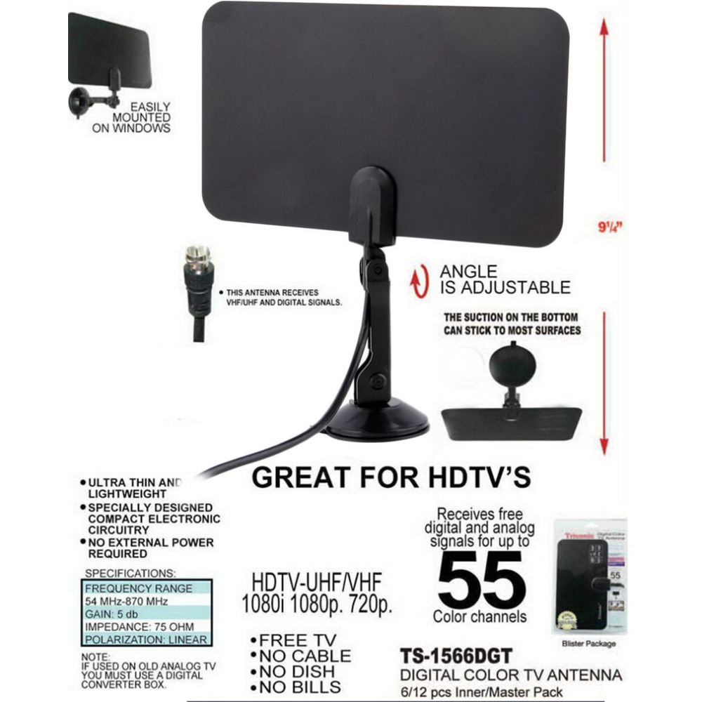 2017 Newest High Quality Digital Indoor TV Antenna HD Flat Design High Gain HD TV DTV Box 54MHz-860MHz Hot Promotion
