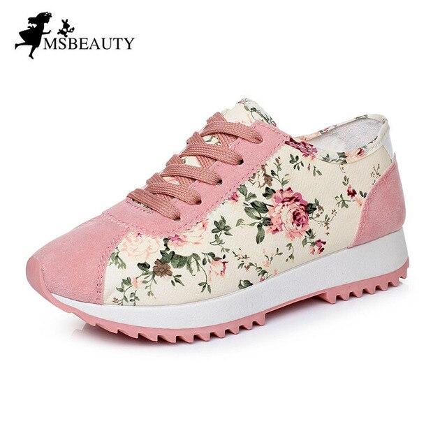 Мода Холст Обувь Женщины Повседневная Обувь На Платформе, босоножки, Низкие Верхние Цветочные Женщины Весна Осень Обувь 8c31