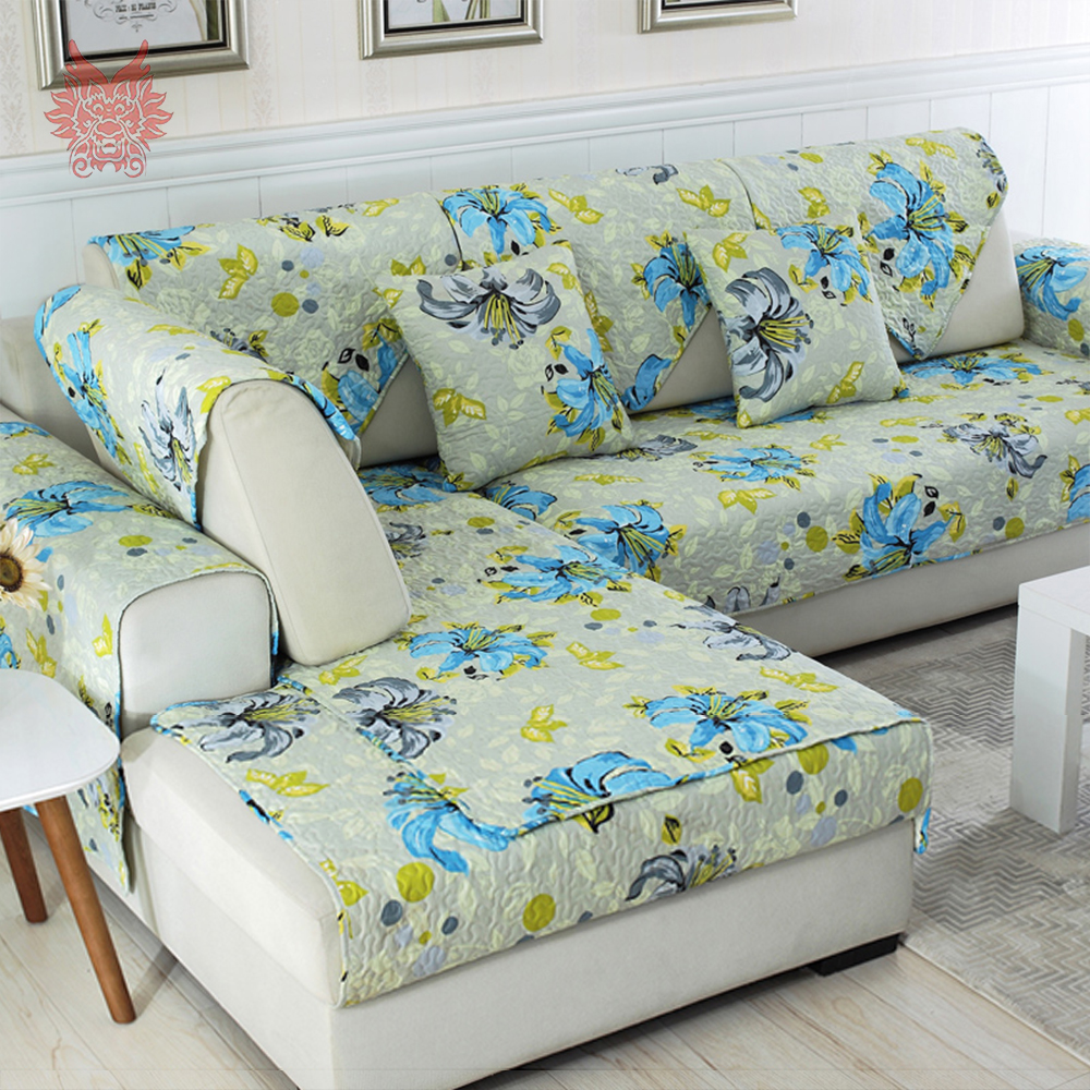 Pastoral Yellow Blue Floral Print Quilted Sofa Cover Chair