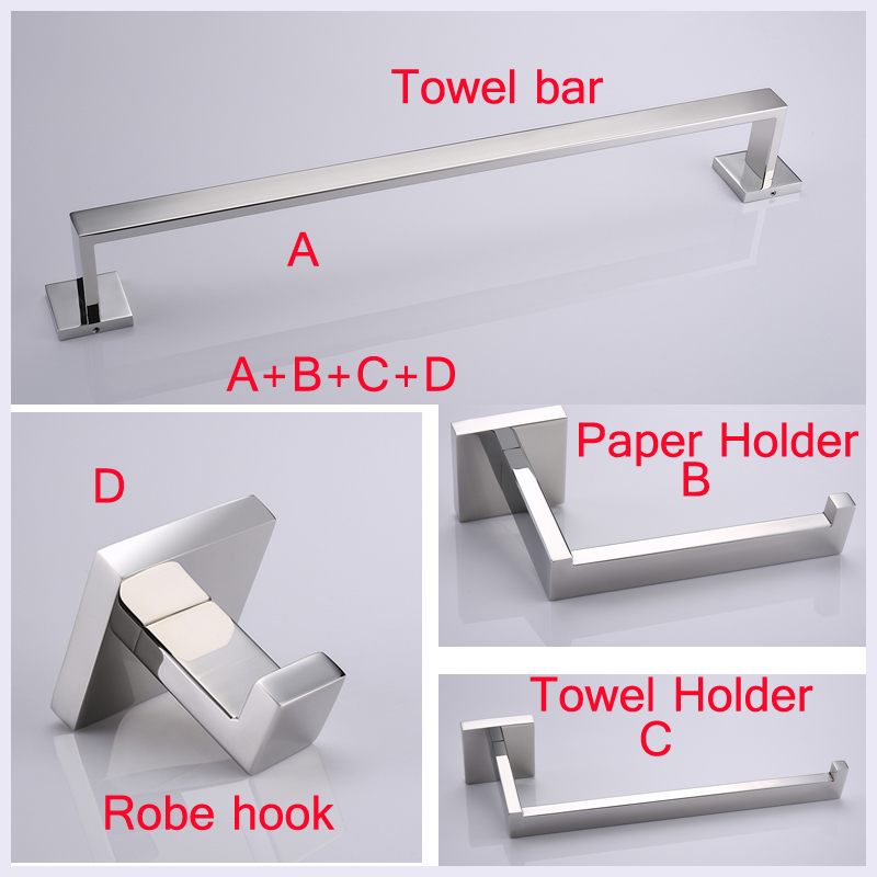 4PCS Stainless Steel Bathroom Hardware Set Include 60cm Towel Bar +Robe Hook+Paper Holder+Towel holder leyden towel bar towel ring robe hook toilet paper holder wall mounted bath hardware sets stainless steel bathroom accessories