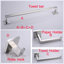 4PCS Stainless Steel Bathroom Hardware Set Include 60cm Towel Bar +Robe Hook+Paper Holder+Towel holder