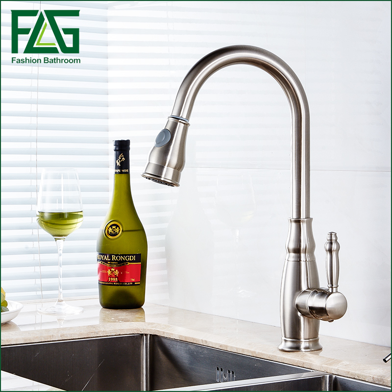 Contemporary Style Nickle Brushed pull out kitchen faucet flexible copper faucet sprayer kitchen faucets Mixer Taps