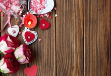Laeacco Wooden Board Flowers Gifts Love Valentines Day Photography Background Customized Photographic Backdrop For Photo Studio