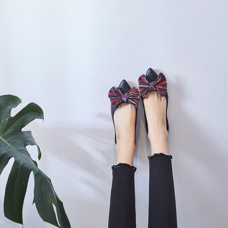 Dames Bout Pointu Peu Nuptiale noir Sur Mocassins Bowtie Simples Profonde Chaussures Noce Beige Femmes De Ballerines Glissent Aa11670 Bal XCqn8