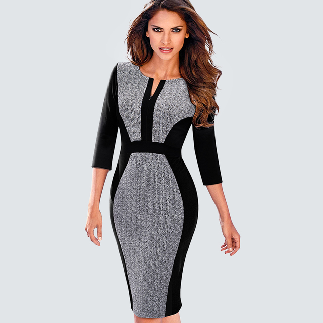 Women Formal Office Work Business One-Piece Outfit Autumn Casual Front  Zipper Contrast Patchwork Sheath Bodycon Lady Dress B409 4c28e7f300bc