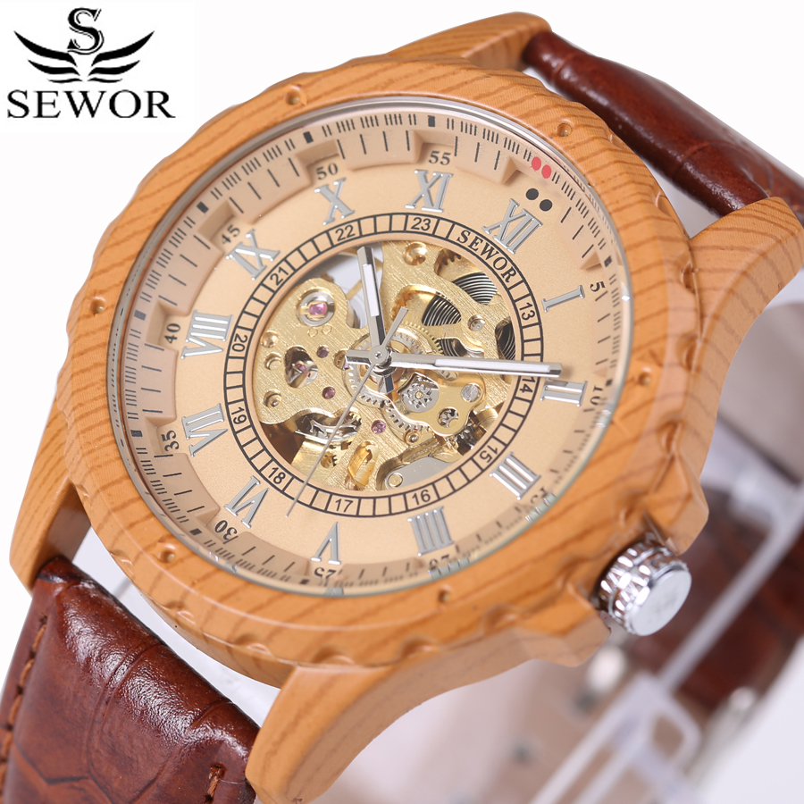 SEWOR Luxury Brand Mens Watch Simulation Bamboo Wood Watches Automatic Mechanical Skeleton Military Sport Male Wooden Clock 2017 sewor c1257