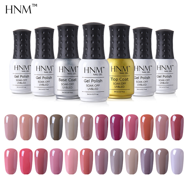 HNM 12pcs/lot Nude Pink Color Series Gel Nail Polish Set 8ML Gel ...