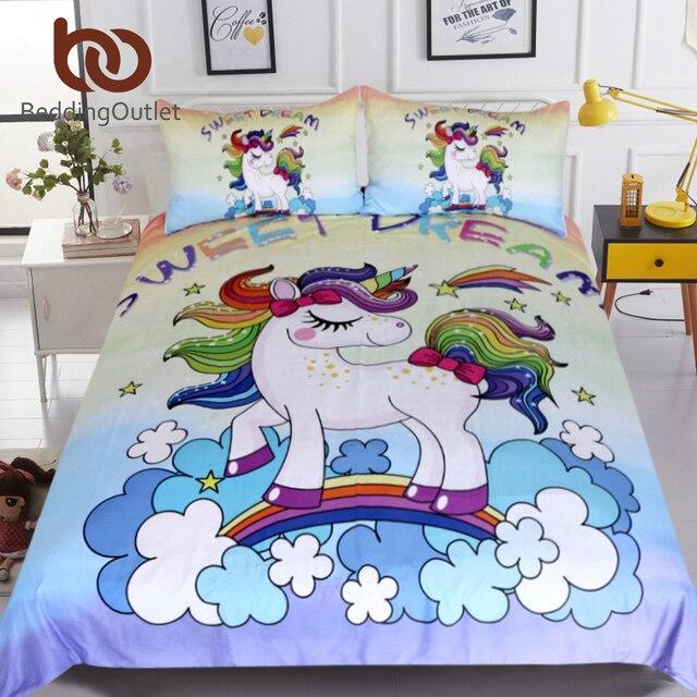 BeddingOutlet Rainbow Unicorn Bedding Set Cartoon Single Bed Duvet Cover Sweet Dream for Kids Girls 3pcs Colorful Bedclothes