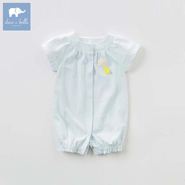 322d0640b0e4 DB7209 dave bella summer newborn girls costumes infant toddler jumpsuits  children short sleeve printing clothes baby romper