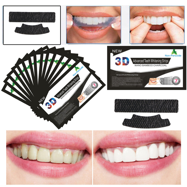 2Pcs New 3D Black Teeth Bamboo Charcoal Whitening Patch Stickers Strip Mint Whitening Strips Professional Teeth Oral Care Tools