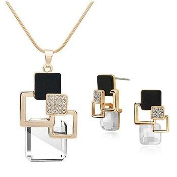 Classic Geometric Square Crystal Jewelry Set 3