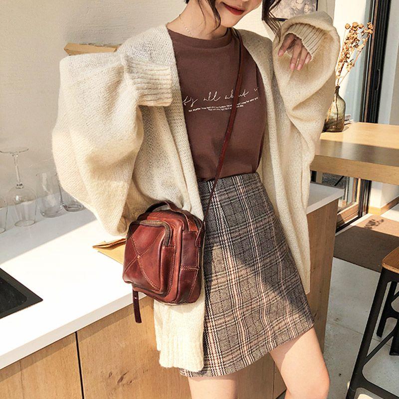 Women Woolen Wild Skirt Plaid Print Skirts Casual Female Mini Skirts
