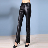 New Arrive Autumn Winter Genuine Sheepskin Leather Pants Lady Full Length Quality Boot cut Women Casual Slim Bell Pants