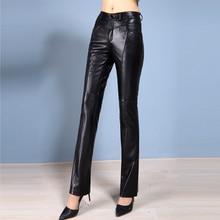 Sheepskin Leather Pants 2020 Women Autumn Winter Genuine Full Length Quality Boot cut Pants Ladies Cool Slim Long Pants