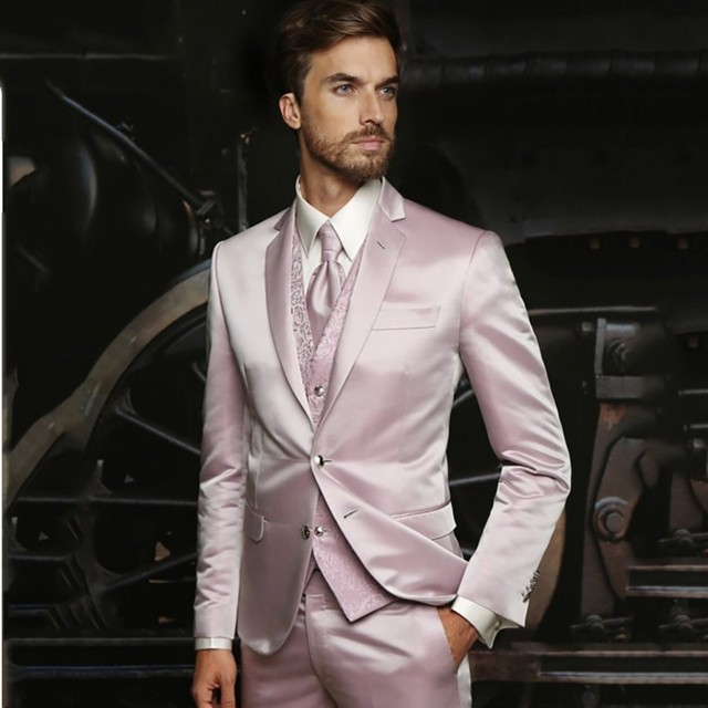 Latest Coat Pant Designs Hot Pink Wedding Suits For Men 3 Pieces Suit Men Formal Groom Tuxedos Terno Slim Fit Prom Best Man Suit