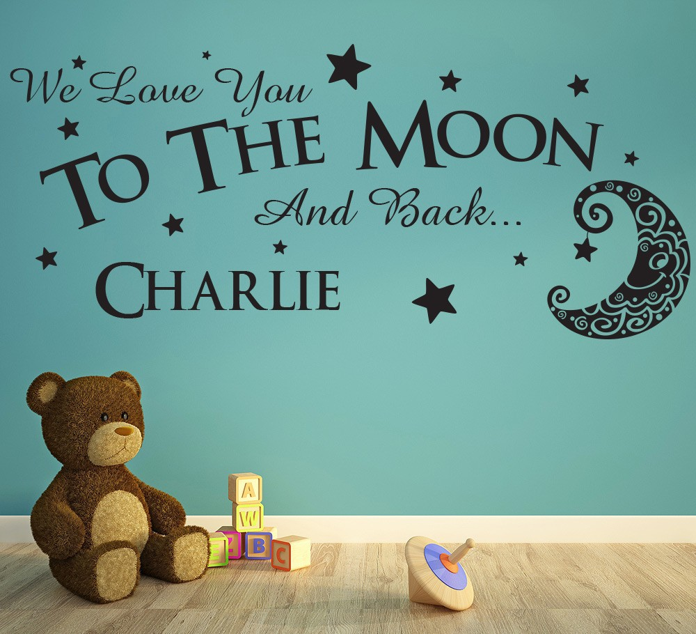 Love you to the moon and back wall sticker personalised vinyl wall love you to the moon and back wall sticker personalised vinyl wall decals quotes nursery vinyls art wall stickers for kids rooms in wall stickers from home amipublicfo Images