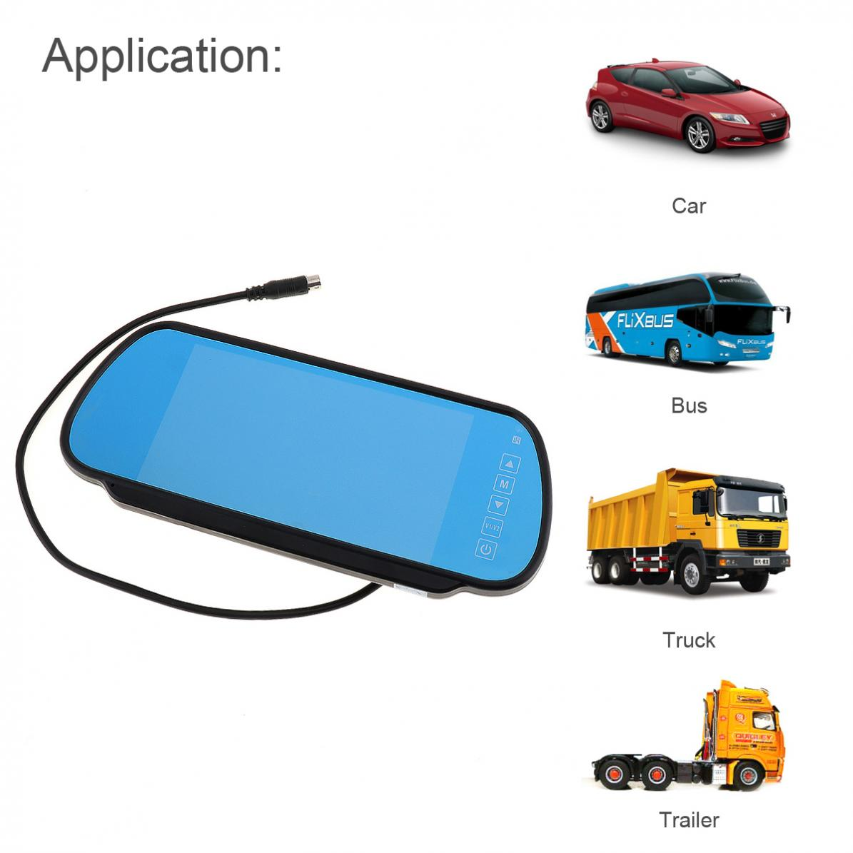 7 Inch 480x234 LCD Widescreen Car Rear View Monitor with Touch Button Auto Car Monitor 2 Channel Video Input