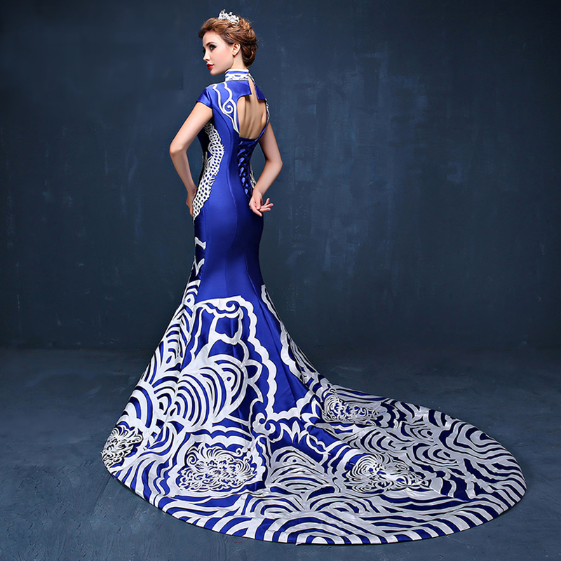2016 Luxury Evening Dress Blue And White Porcelain Cheongsam Qipao
