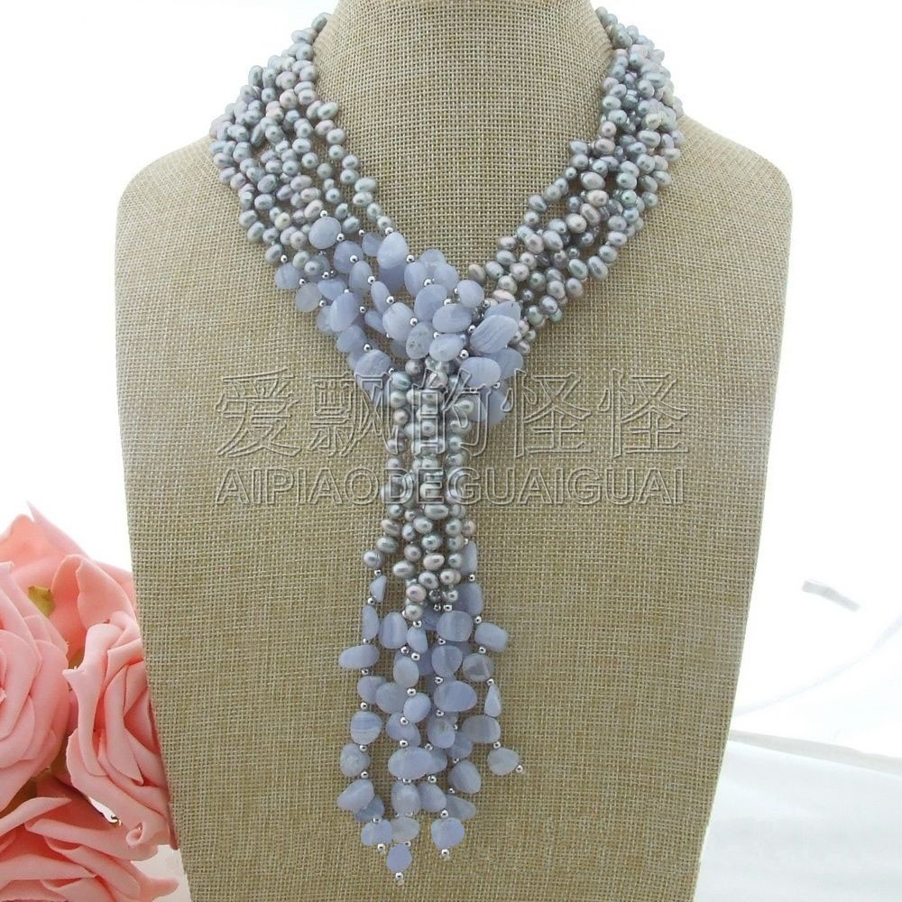 N030801 49 3 Strands Gray Pearl Chalcedony NecklaceN030801 49 3 Strands Gray Pearl Chalcedony Necklace