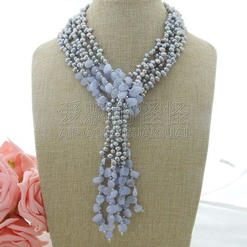"""N030801 49"""" 3 Strands Gray Pearl Chalcedony Necklace"""