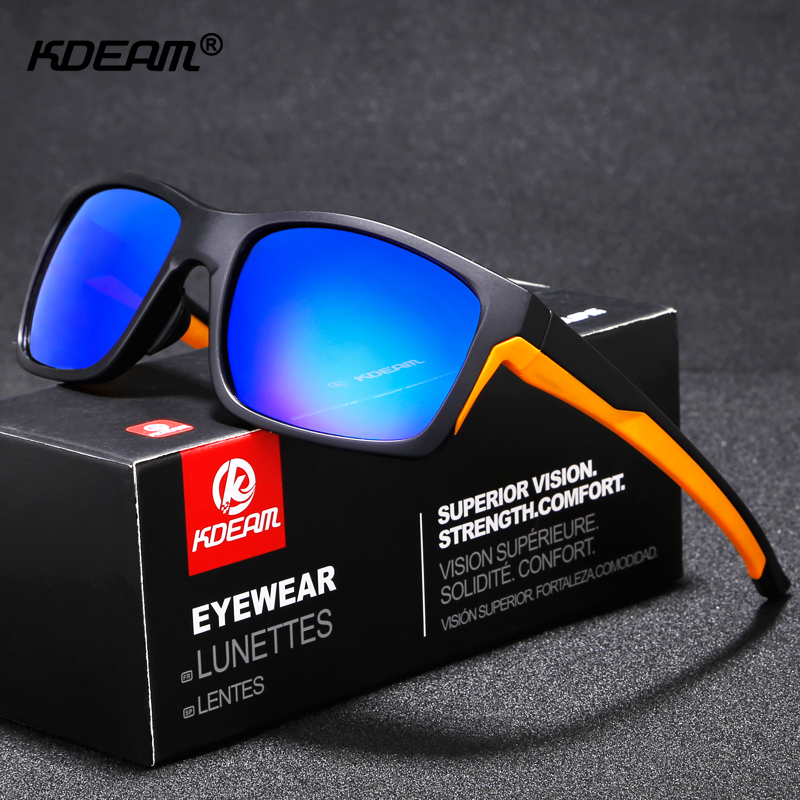 KDEAM High-end Goggles TR90 Polarized Sunglasses Men Color-match Polaroid Glasses Filter UV-rays Sport Shades With Box