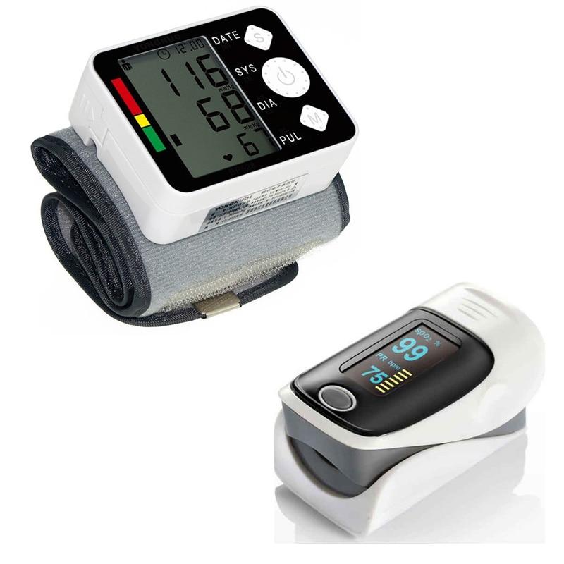 Digital Blood Pressure Monitor Pulsossimetro Da Polso di Pressione Sanguigna Sfigmomanometro Tonometro SpO2 Mini Finger Pulsossimetro