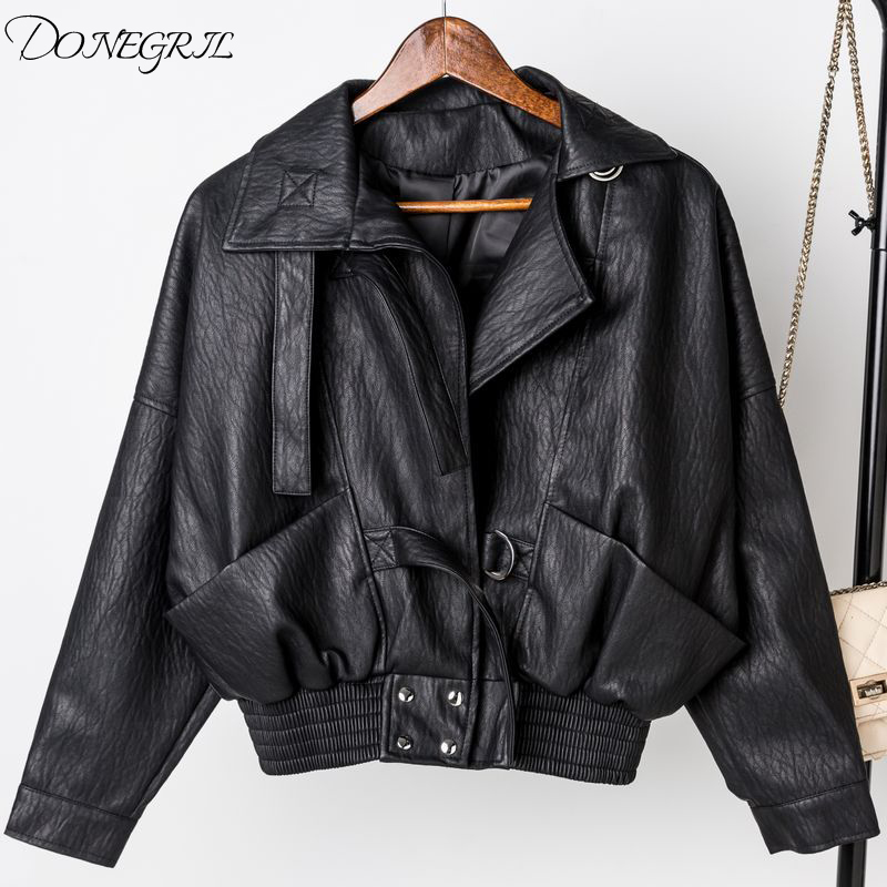 2019 fashion small   leather   ladies short spring and autumn   leather   jacket pu locomotive Korean version of the lapel short coat