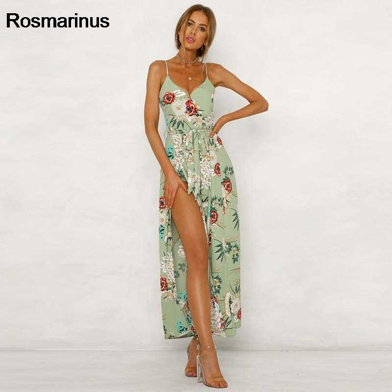 201e8d7a52bd Floral Boho Jumpsuit Women Summer V Backless Spaghetti Strap High Split Sexy  Playsuits Wide Legs Long
