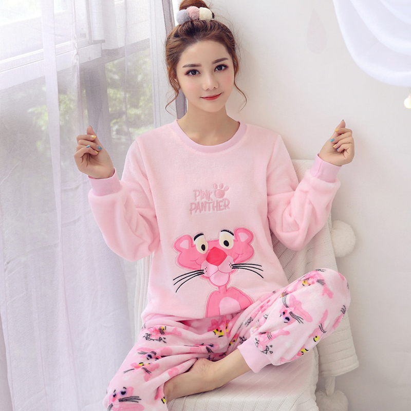 Yuzhenli New Winter Women's   Pajamas     set   Women Long Sleeve Sleepwear Flannel Warm Lovely Cartoon Tops + Pants Sleep Pyjama Female