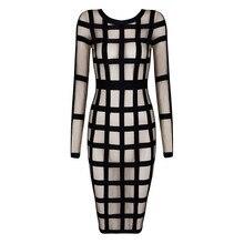 Alice & Elmer Women's Rayon Long Sleeve  Mesh Black and Apricot Bandage Bodycon Dress
