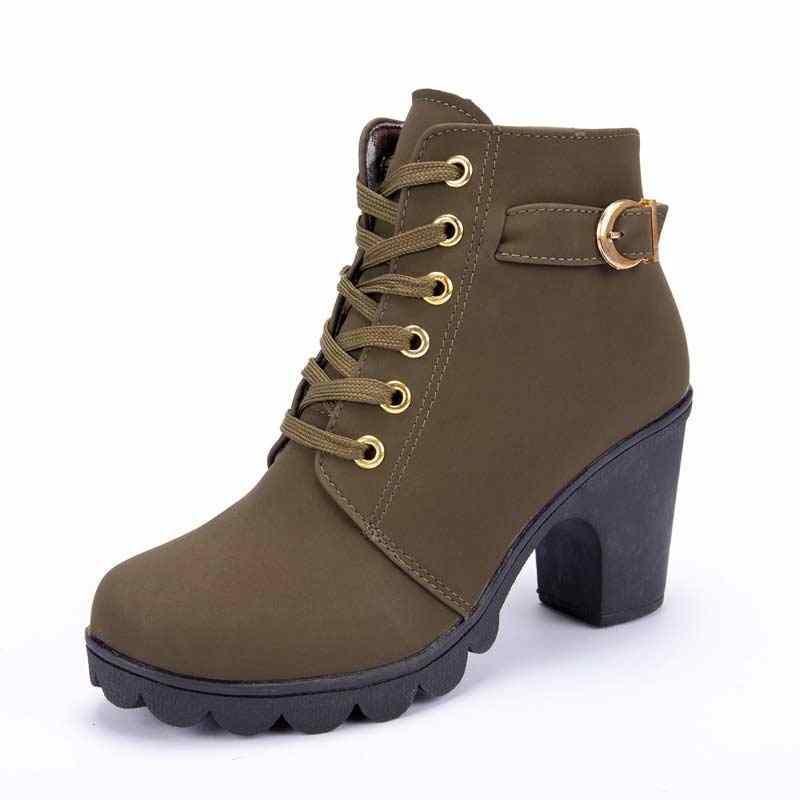 ข้อเท้ารองเท้าผู้หญิง 2019 ใหม่ elegant สแควร์ส้นรองเท้าผู้หญิงรองเท้าส้นสูงสีทึบ vintage ผู้หญิงรองเท้า lace-up ผู้หญิงรองเท้า