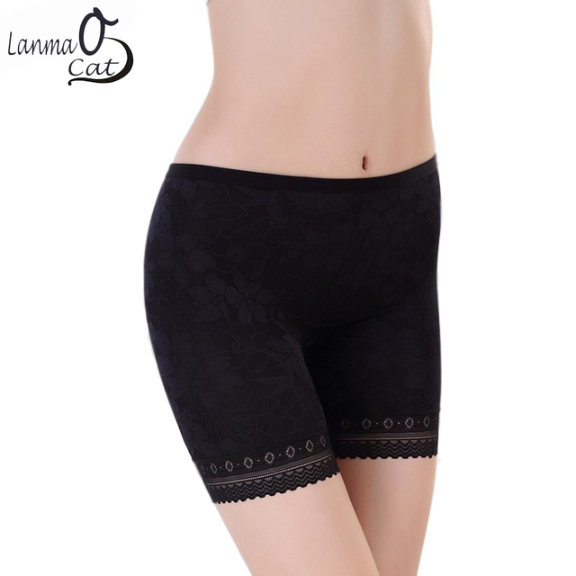 b5f5f6a14ef3 2 PCS Women Safety Shorts Pants Plus Size Women Summer Inner Underwear With  Jacquard Lace Panties