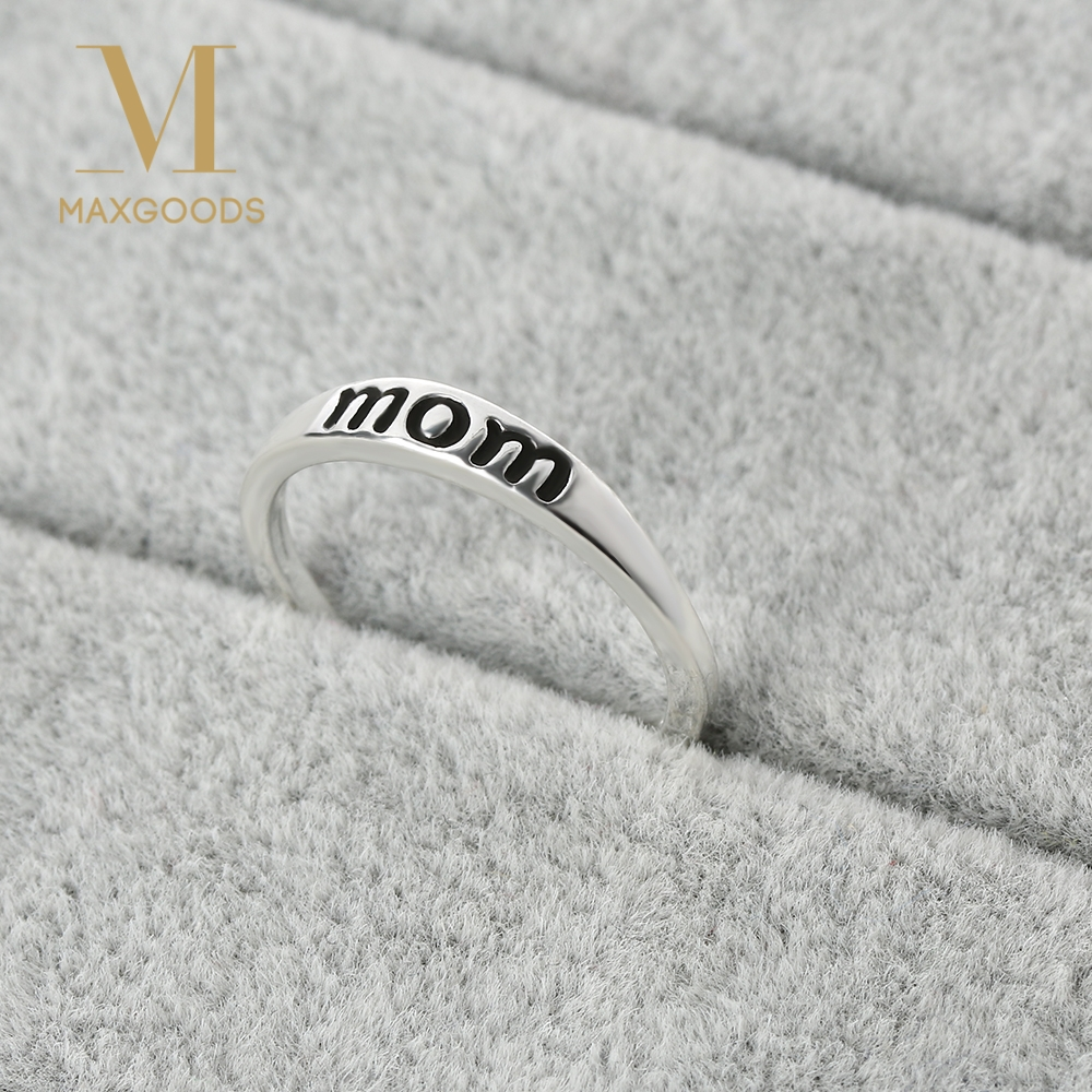 Classic Silver Color Ring Jewelry Vintage Print Letter Mom Ring For