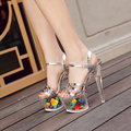 Novo 2017 Mulheres Sapatos de Plataforma de Moda Sexy 17 CM sapatos de Salto Alto flor De Cristal Partido Sapatos De Grife Mulheres Sandálias