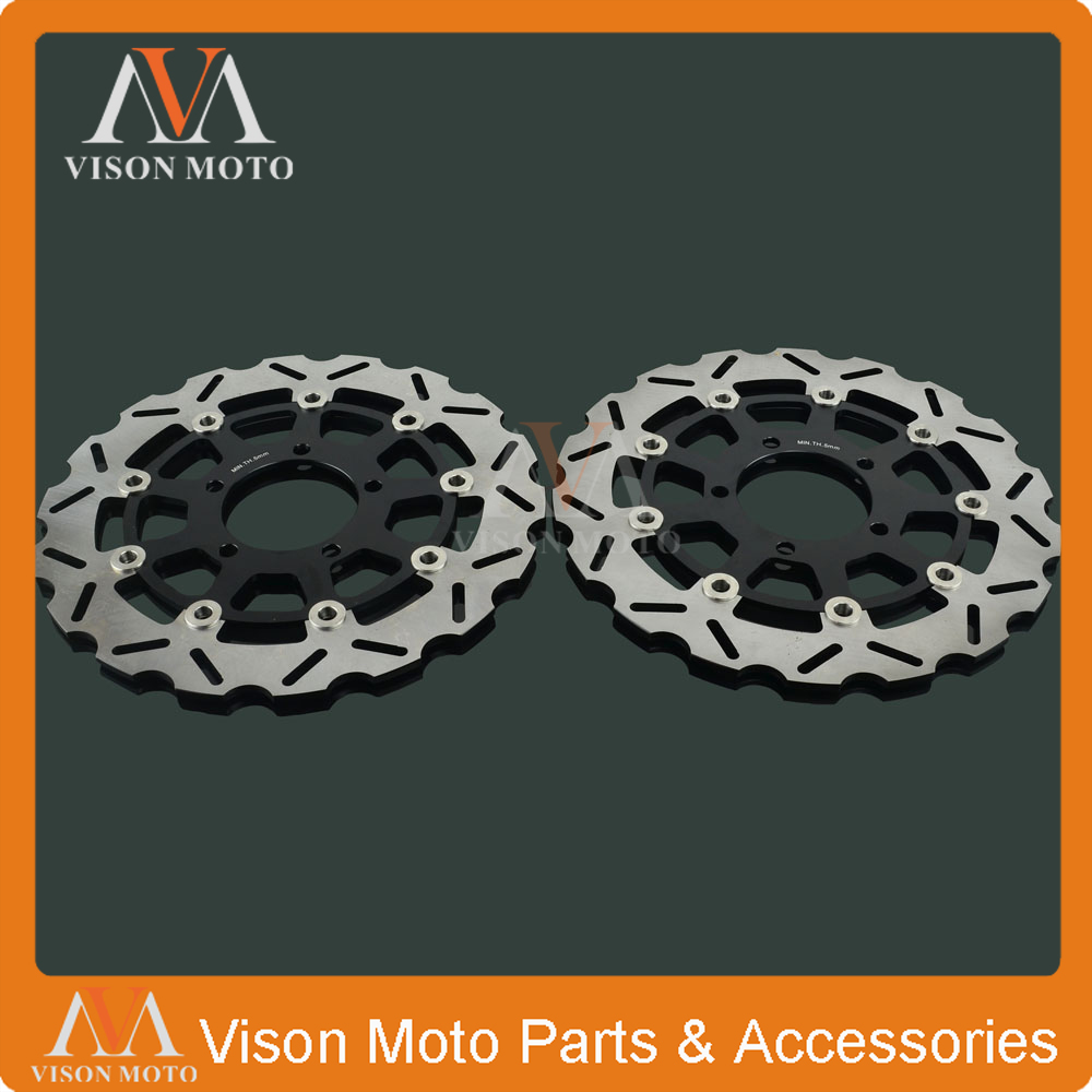 2PCS Front Floating Brake Disc Rotor For KAWASAKI NINJA ZX6RR ZX600 ZX 600 636 ZX-6R ZX6R ZX636 ER6F ER6N VERSYS 650 Z750 Z 750 front fender fairing for kawasaki ninja zx6r 2000 2001 2002 unpainted white new replacement zx 6r 00 02