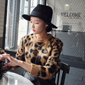 Nuevo estilo Coreano 2016 otoño y el invierno de la moda sexy leopardo de las mujeres patrón de la impresión del estilo corto de manga larga pullover sweater