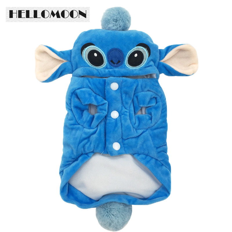 HELLOMOON Blue Stitch Warm Jackets for Pets Dog Clothes with Animals Picture Cartoon Garment Tactic poodle puppy four clothes